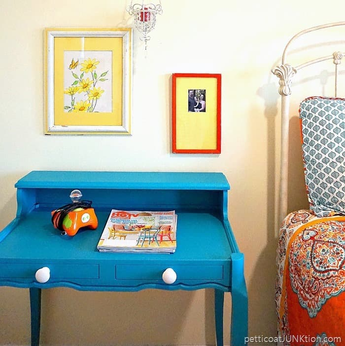 Navajo Blue Chroma Color Repurpose paint furniture project by Petticoat Junktion 1