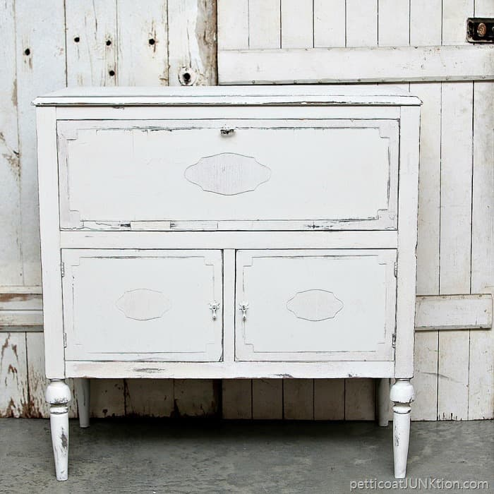 beverage cabinet upcycled furniture project painted white