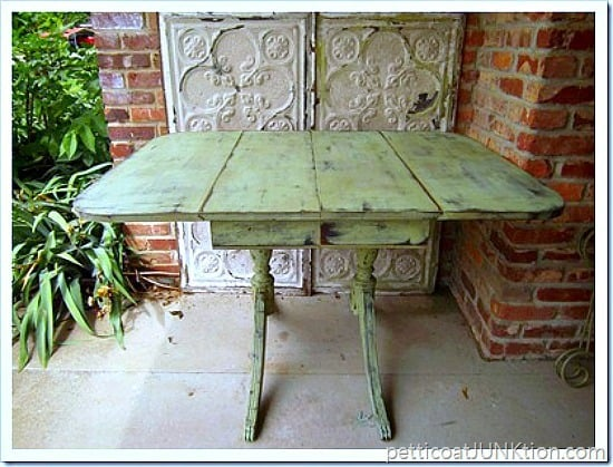 green and black distressed table