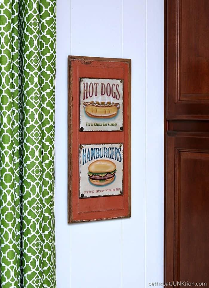 hot dog hamburger kitchen wall hanging