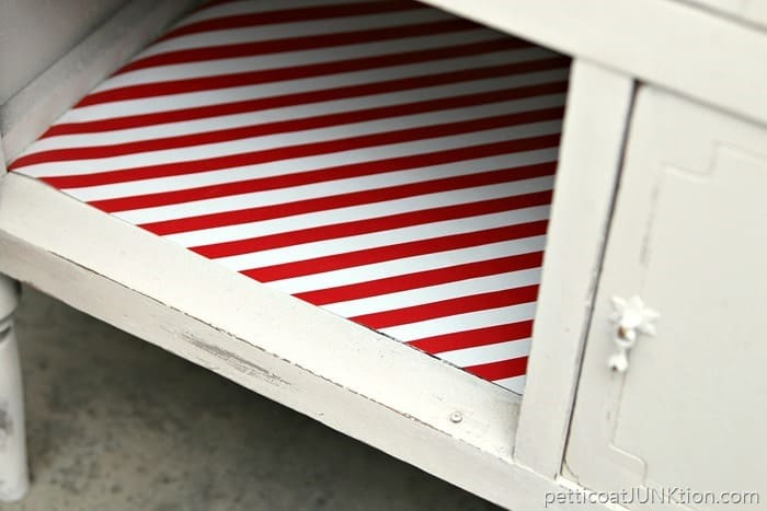 red and white stripe shelf paper