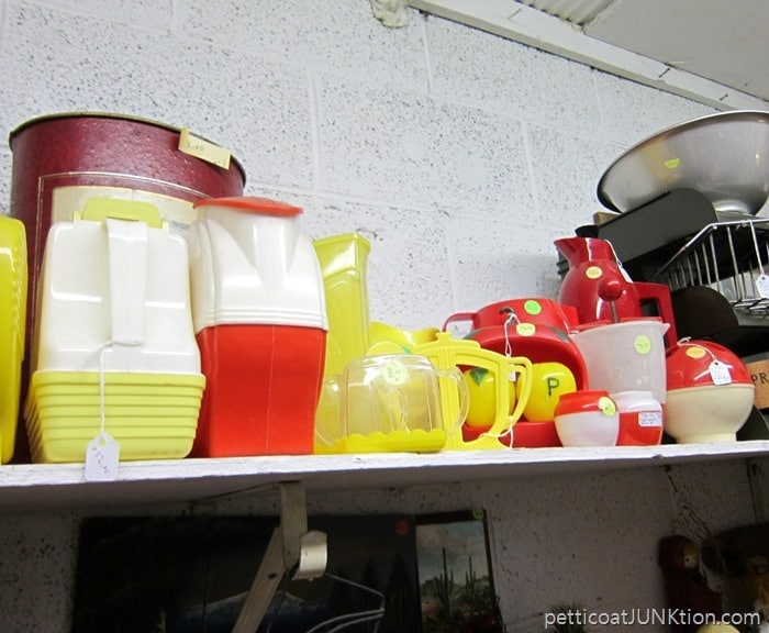 red and yellow vintage kitchen ware