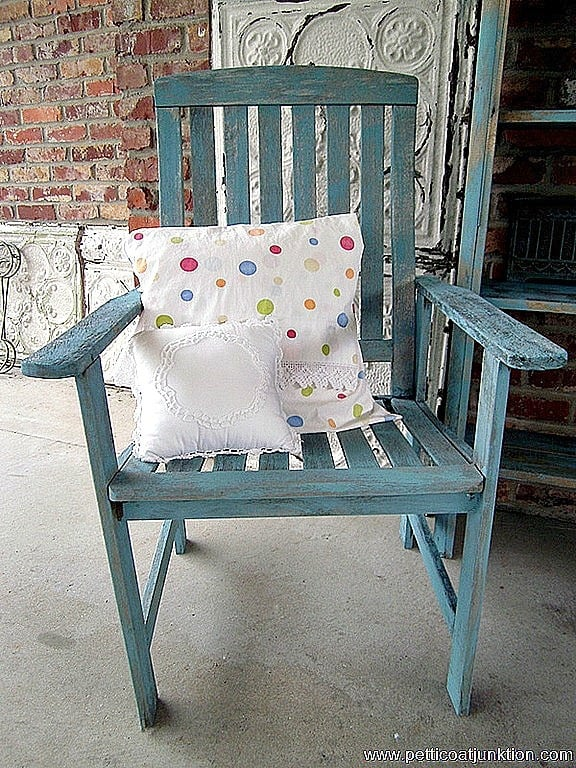 shabby blue wood lawn chair