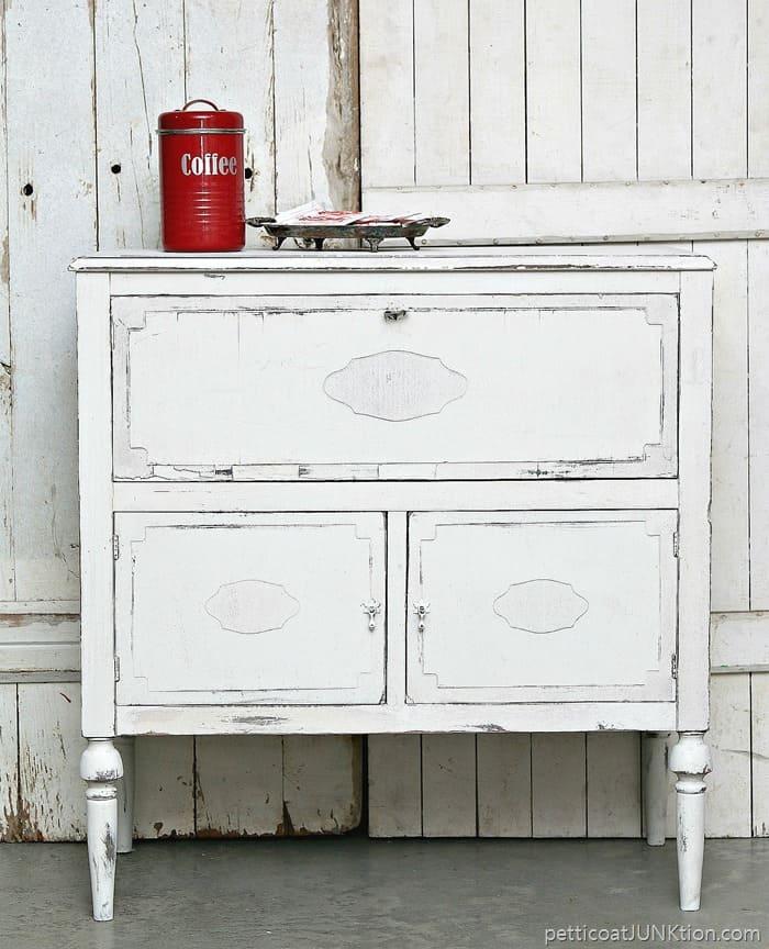 shabby chic white beverage cabinet 1