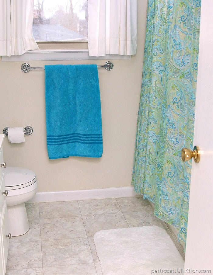 turquoise and green shower curtain