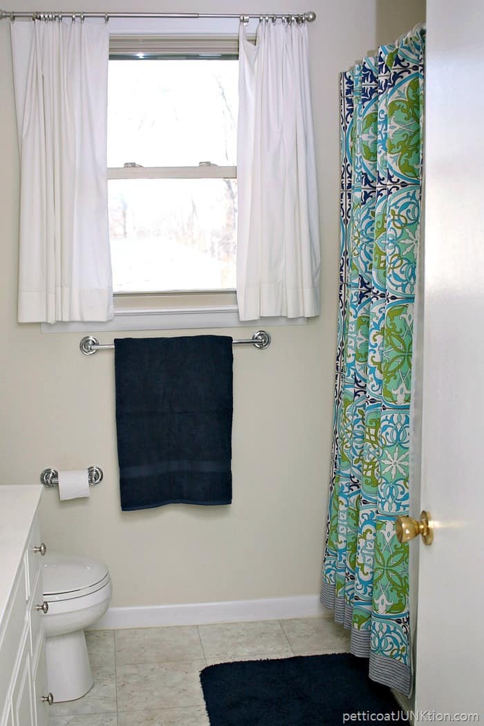 Unique turquoise and navy shower curtain from World Market