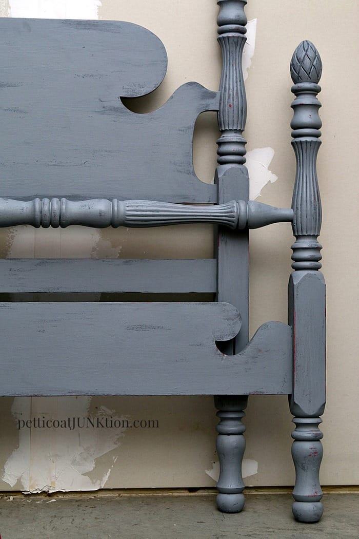 two tone gray and pink twin bed paint project by Petticoat Junktion