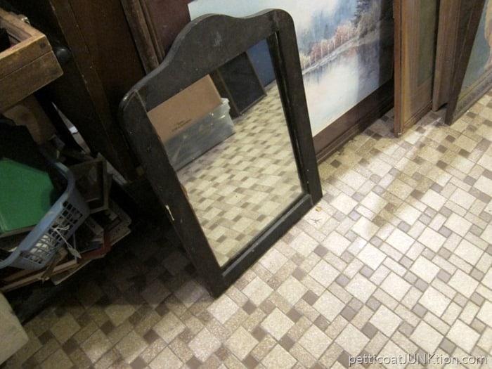 vintage mirror with dark frame