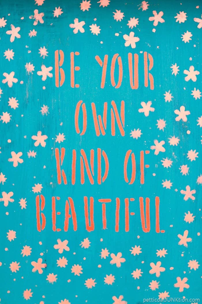 Be your own kind of beautiful stencil from FolkArt paint color is brushed copper