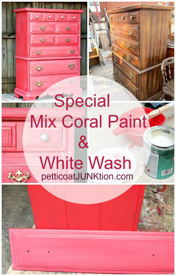 Coral color furniture makeover from the Furniture Fixer Uppers with white wash paint technique