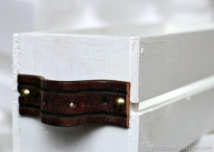 DIY Designer Wood Crate with leather belt handles