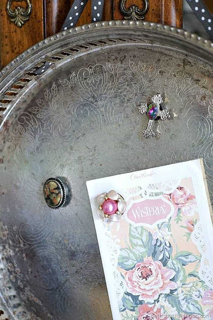 DIY Magnet Tray with vintage earring magnets