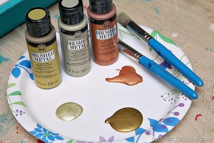 FolkArt Brushed Metal Paints in Brushed Gold and Brushed Copper and Brushed Pearl Gold