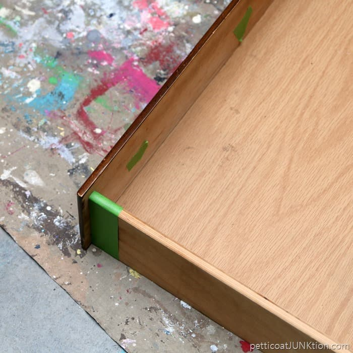 FrogTape to protect drawer sides and interior of drawer