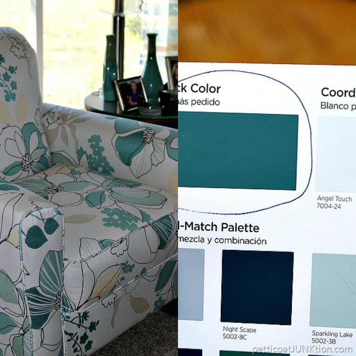 Lost Atlantis Valspar paint color matched to chair fabric