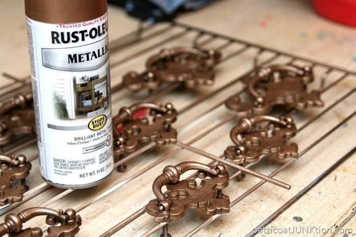 Rustoleum Rose Gold Metallic Spray Paint for furniture hardware