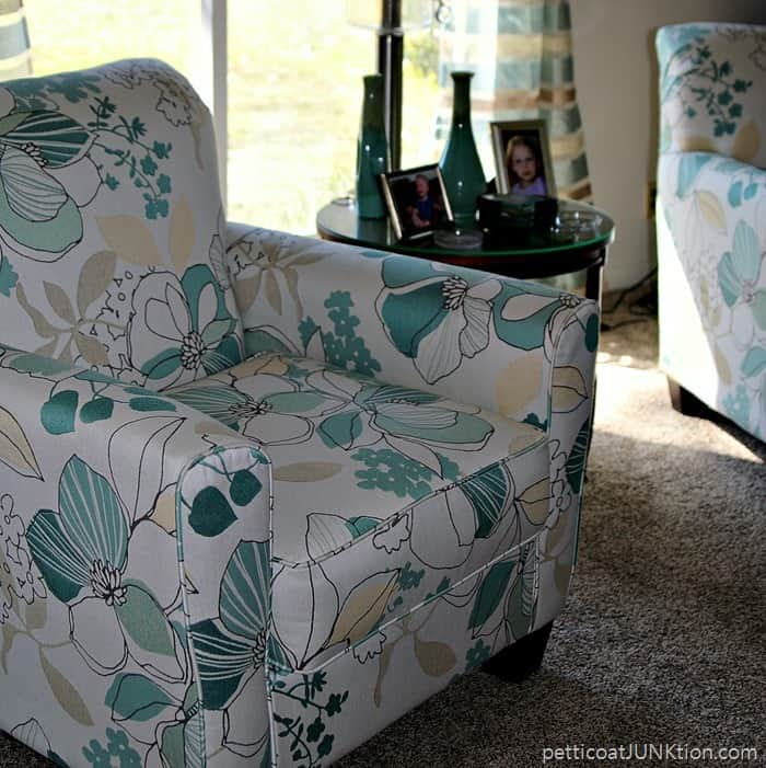 blue and white floral chairs