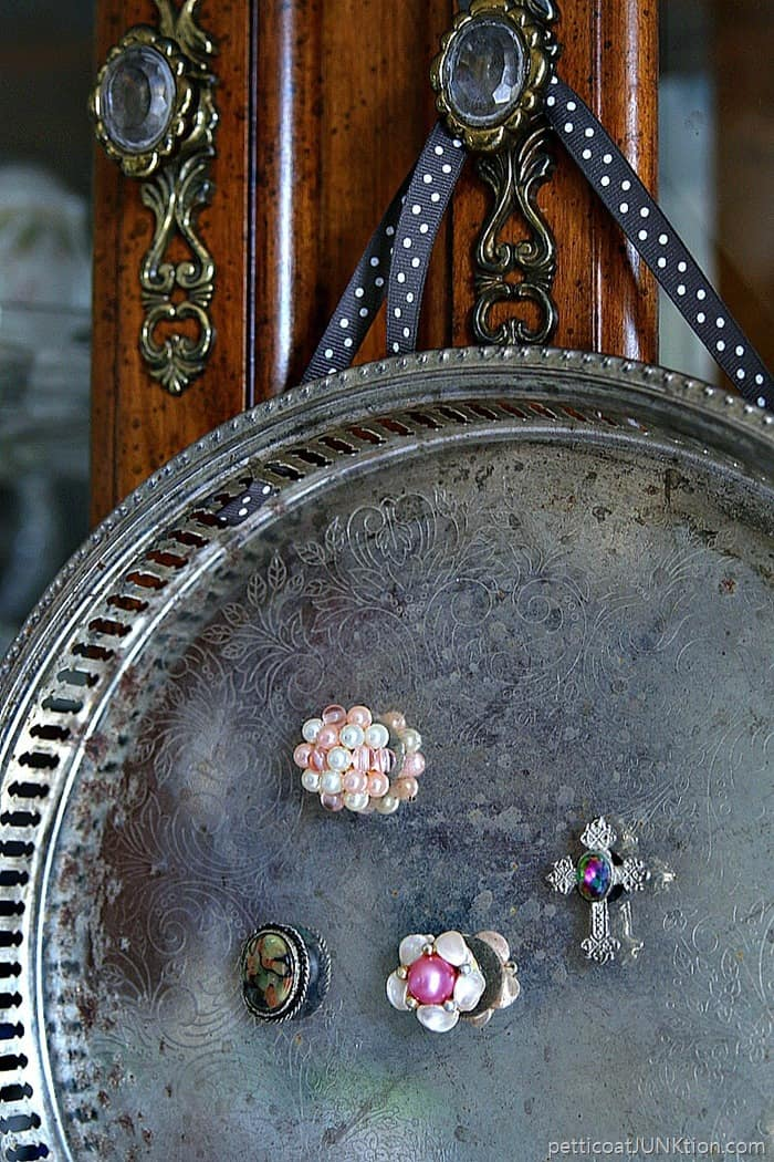 diy vintage earring magnets and silver plated serving tray magnet board