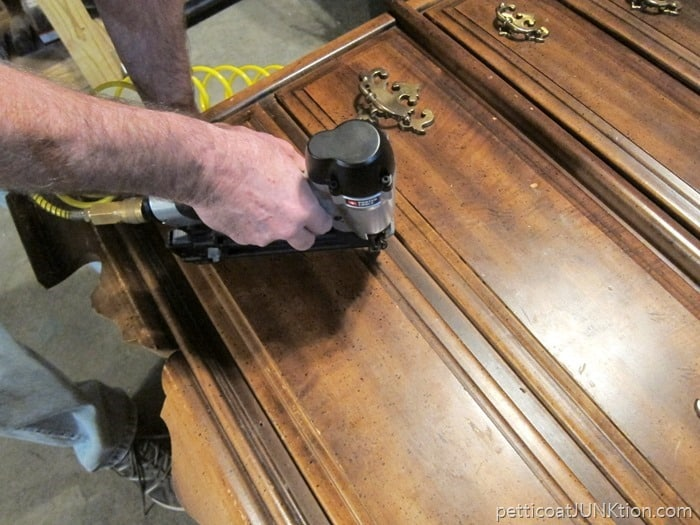 drawer front nailed to chest
