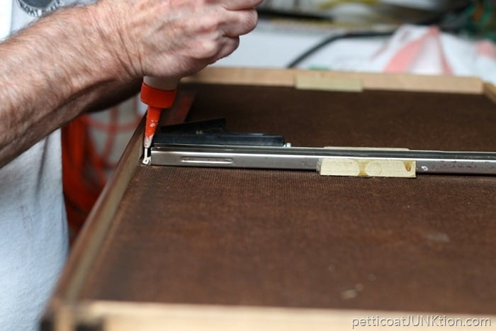 drawer runner repair with Elmer's glue
