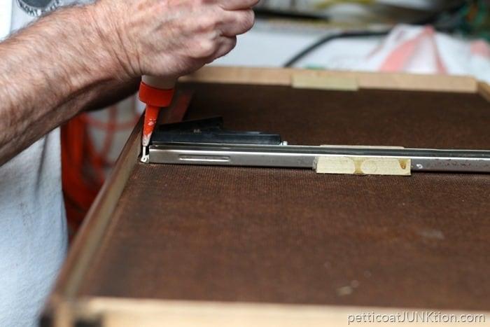 drawer runner repair with Elmer's glue
