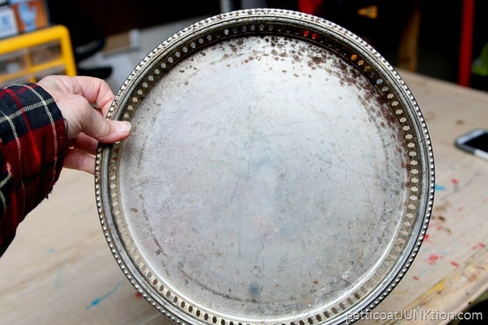 one dollor junkin find silver plated tray