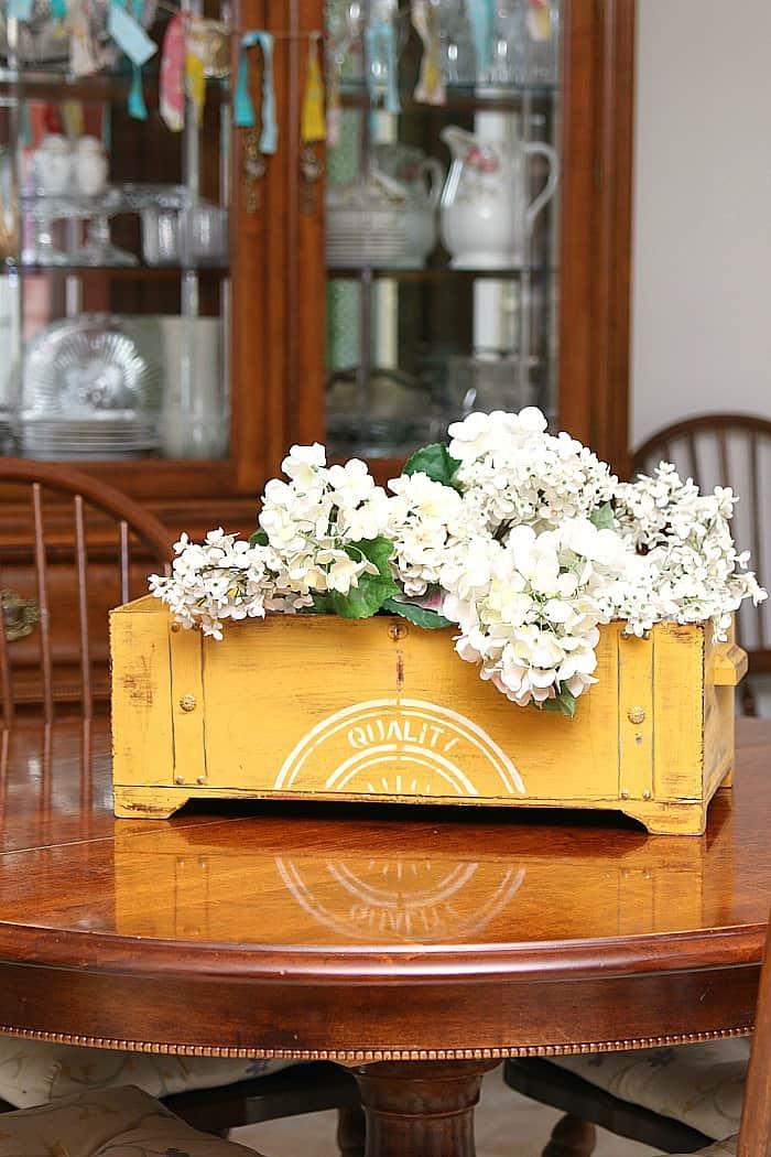 stenciled chest makes a pretty flower box