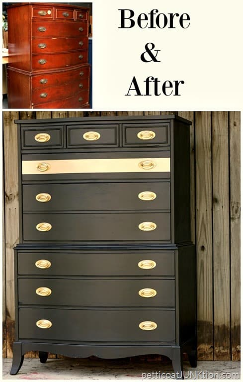 Add a metallic gold stripe for instant glamour furniture fixer uppers petticoat junktion for Spray paint bedroom furniture