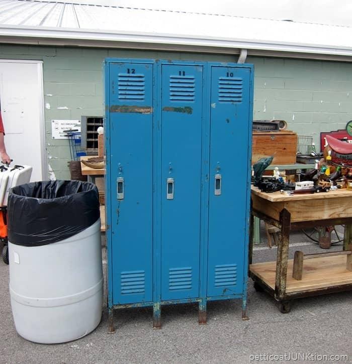 Blue Metal Lockers at the Nashville Flea Market