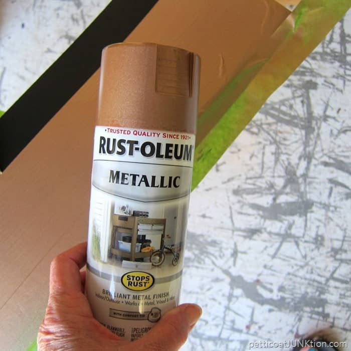 Rustoleum Metallic Rose gold paint for the furniture stripe