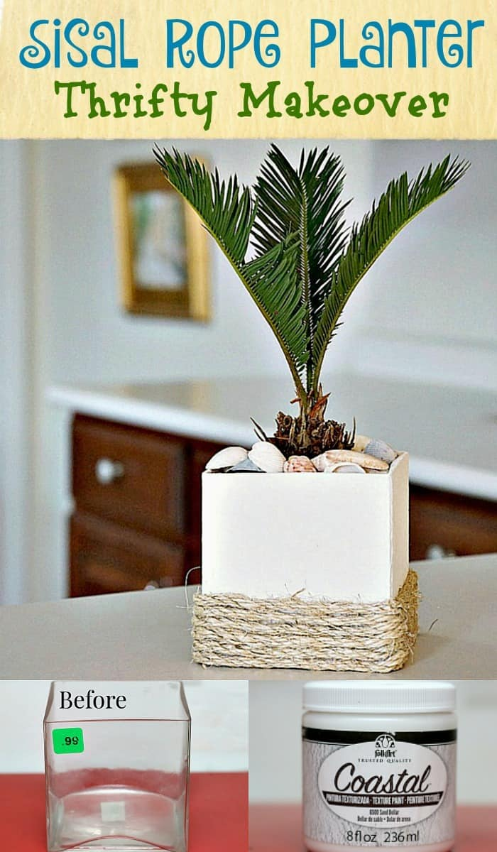 Sisal Rope Planter is a Thrift Store Decor Makeover