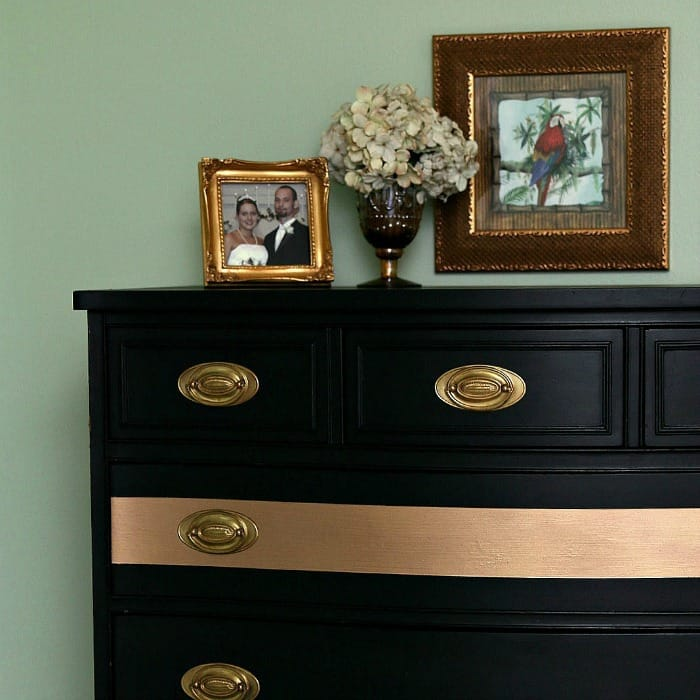 gold stripe chest with gold tone furniture hardware