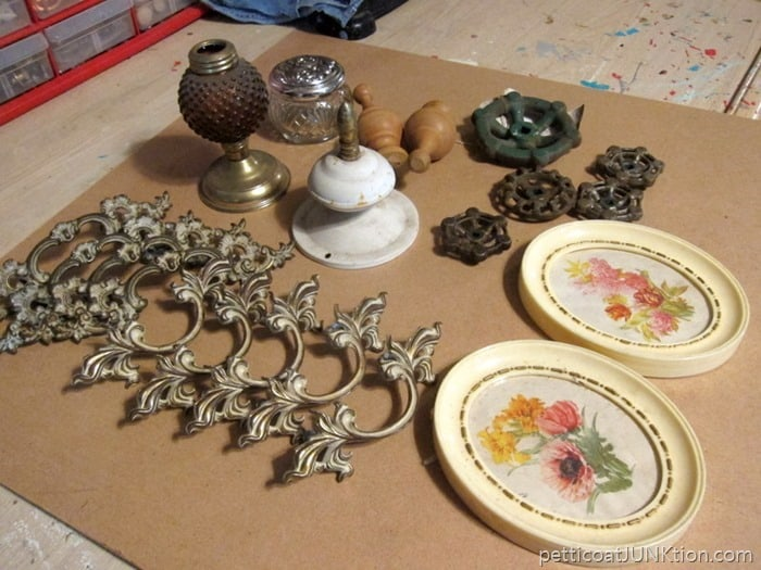 junk haul includes French provincial hardware pulls for chest of drawers