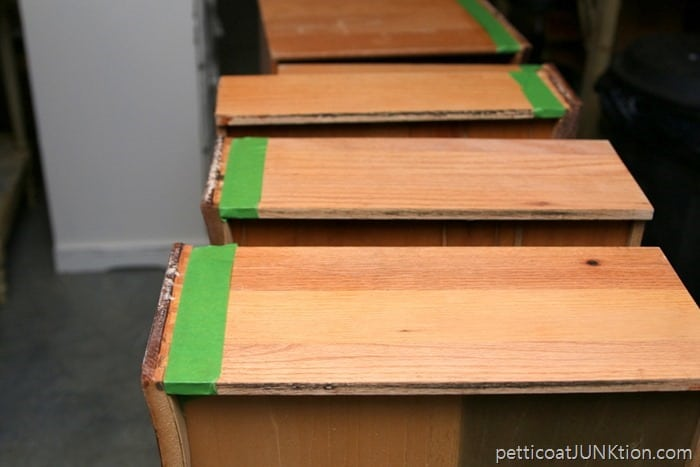 tape drawer sides for neat line