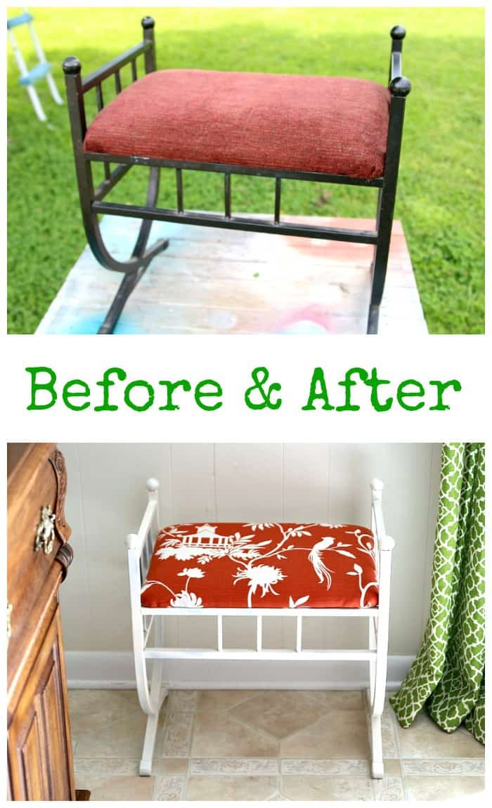 Before and After stool makeover with fabric and paint
