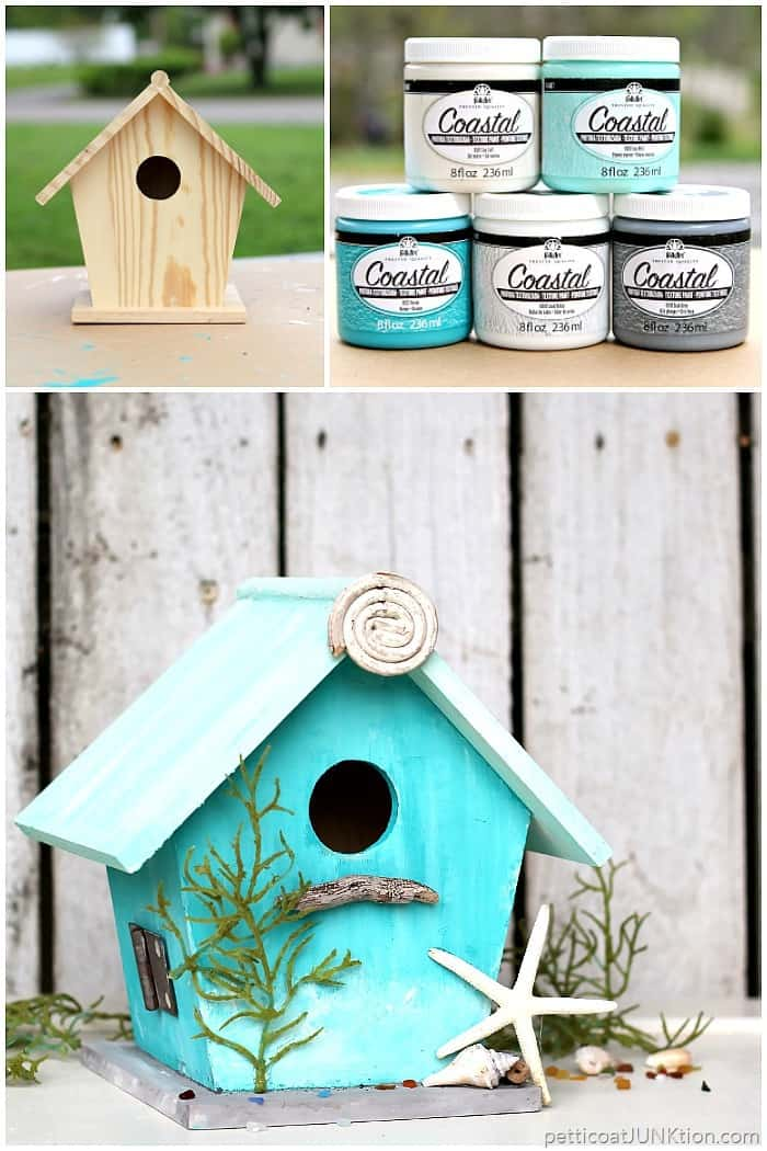 Birdhouse painted with FolkArt Coastal Paint