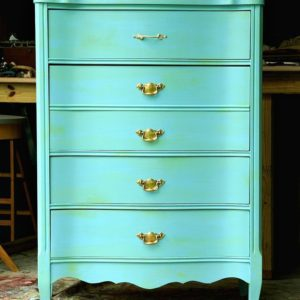 Furniture Makeover: Green Wash Over Turquoise Paint Featuring Shiny Brass Hardware
