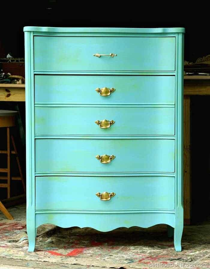 Furniture Makeover Green Wash Over Turquoise Paint And Shiny Brass Hardware