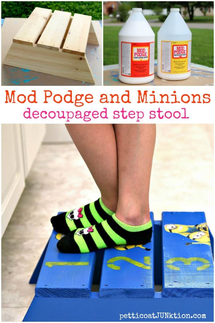 Mod Podge and Minions decoupaged step stool