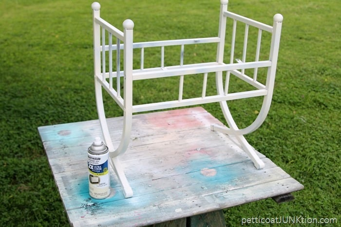 Rustoleum spray paint in Heirloom satin for stool project