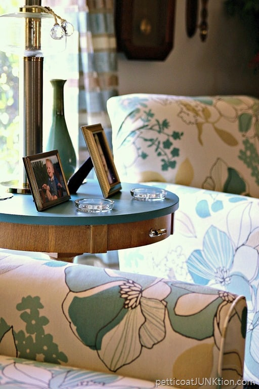 blond furniture painted turquoise