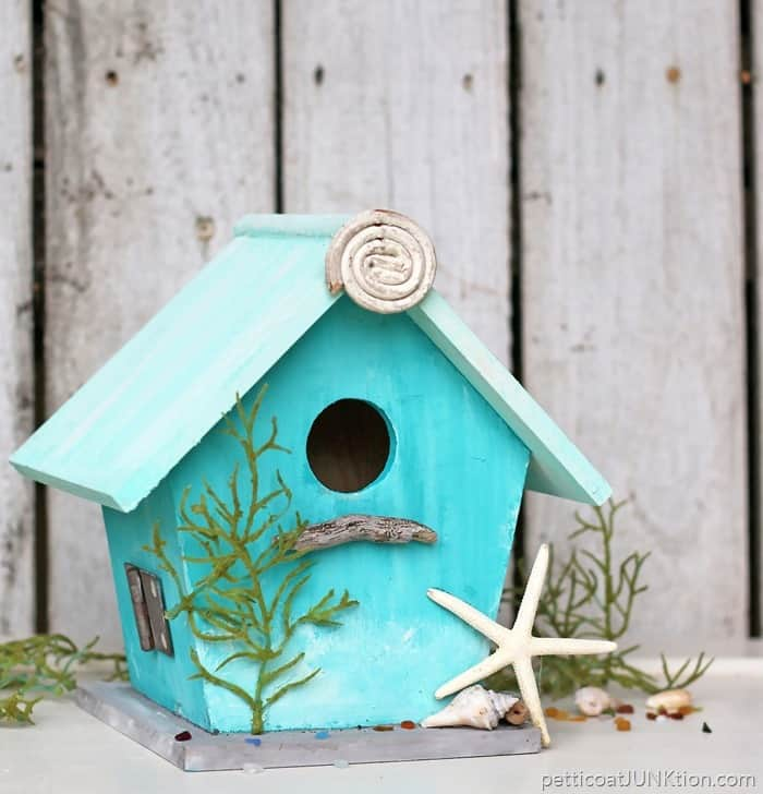 Turquoise Birdhouse inspired by the beach and painted with FolkArt Coastal texture paint