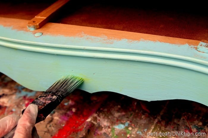 adding depth to turquoise painted furniture