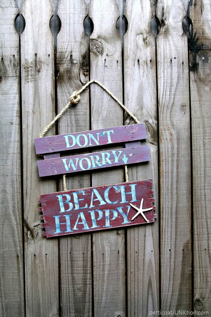 beach happy sign I made from reclaimed wood