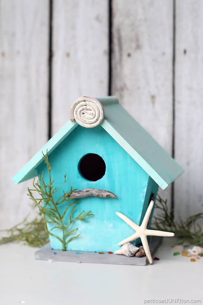 beach lover birdhouse project using FolkArt Coastal paint