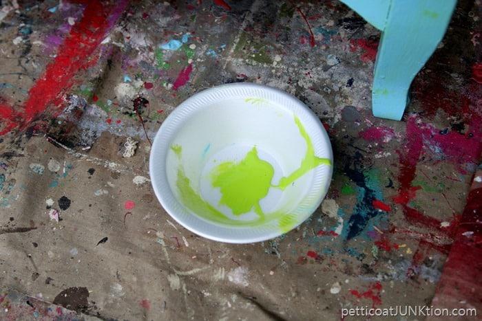 furniture makeover green wash over turquoise paint. Black Bedroom Furniture Sets. Home Design Ideas