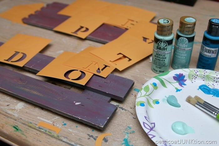 paint and stencils ready for stenciling project