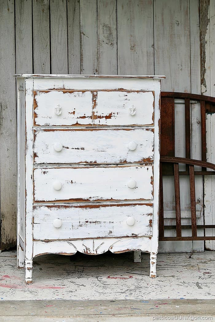 shabby chic coastal furniture project dare to distress white paint