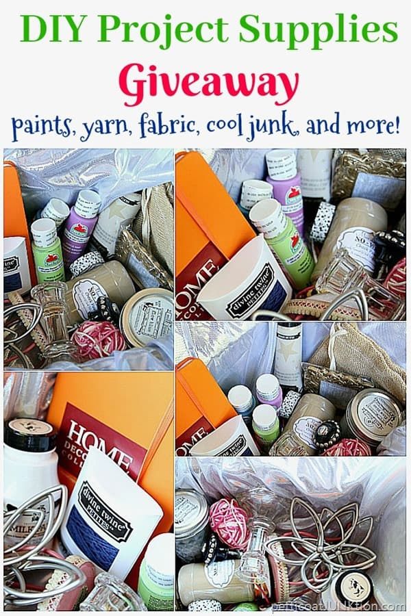 DIY Project Supplies Giveaway including paint, yarn, fabric, and cool junk