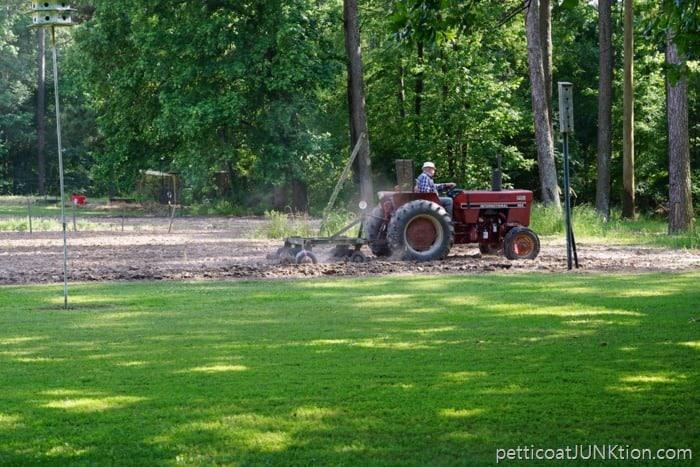 Dad plowing his garden